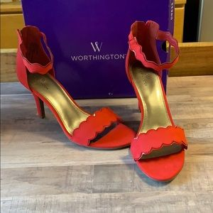 New Red Scallop Ankle Strap Suede Heels